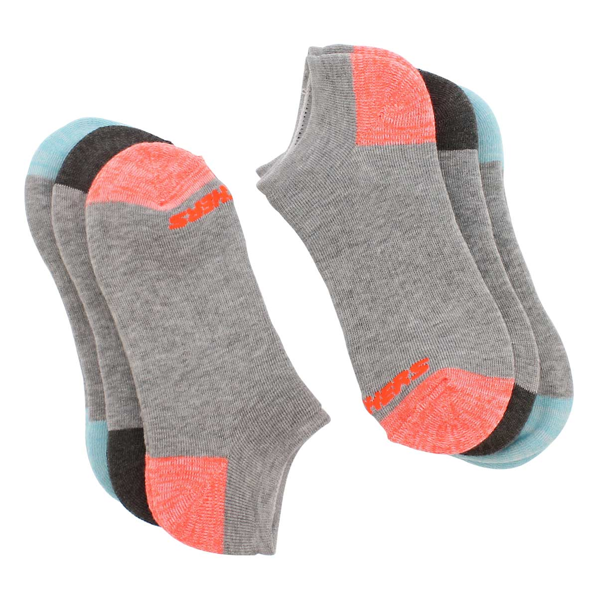 Women's NO SHOW FULL TERRY grey multi socks - 6 pk