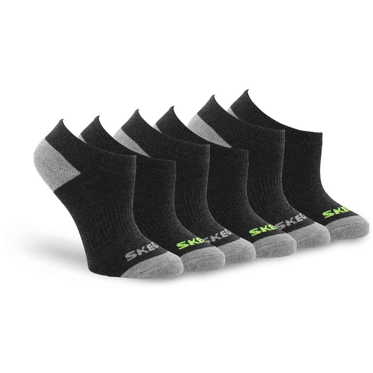 Bys NoShow FullTerry blk mlt sock 6p