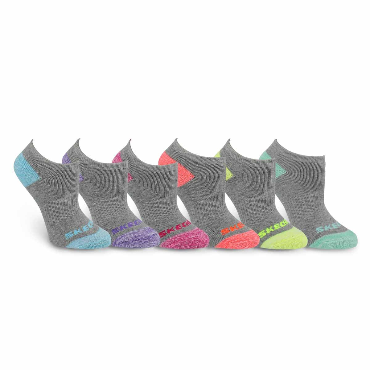 Grls NoShow FullTerry MED gry sock 6pk