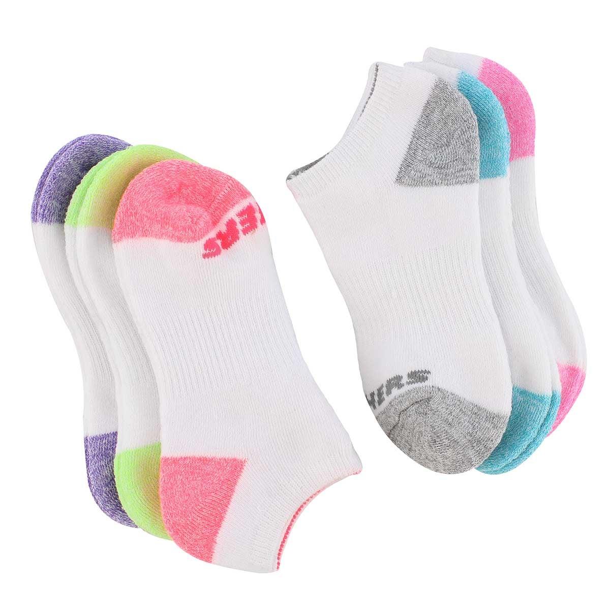 Grls NoShow FullTerry MED wht sock 6pk