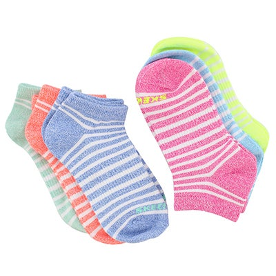 Skechers Girls NON TERRY BRIGHT multi low cut socks-6 pack