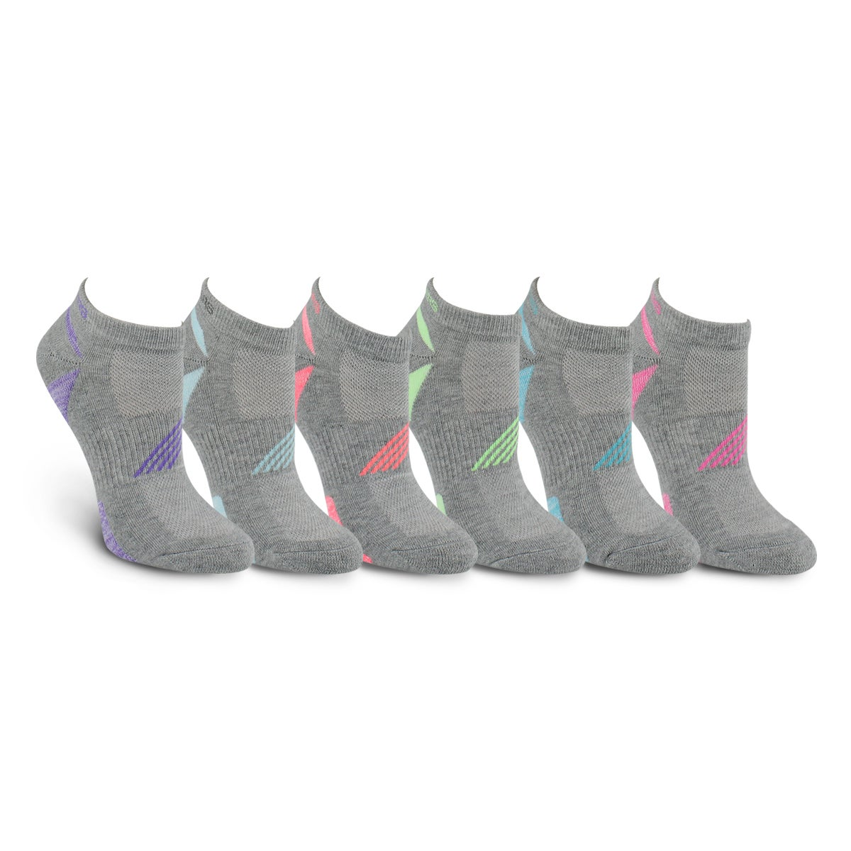 Lds LowCut HalfTerry gry mlti sock 6pk