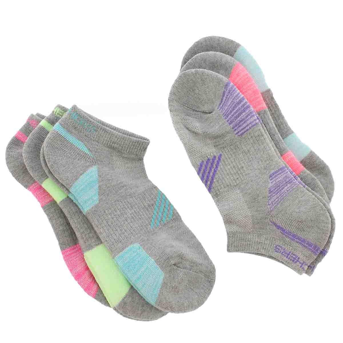 Women's LOW CUT HALF TERRY gry mlti socks 6 pk