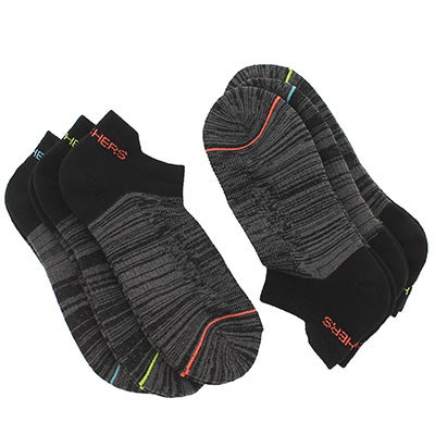Lds LowCut HalfTerry blk mlti sock 6pk