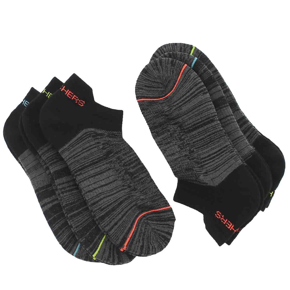 Women's LOW CUT HALF TERRY blk mlti socks 6 pk