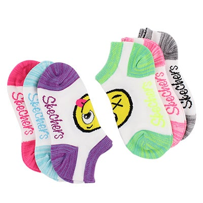 Grls Low Cut NoTerry emoji med sock 6pk