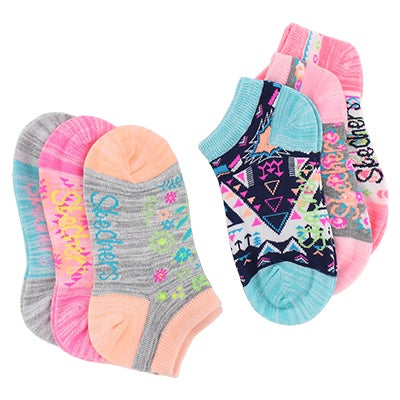 Grls Low Cut NoTerry multi med sock 6pk