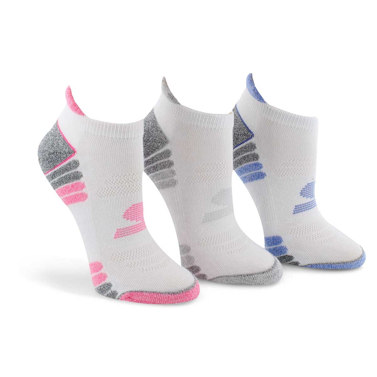 Lds Low Cut Half Terry wht/mlti sock 3pk