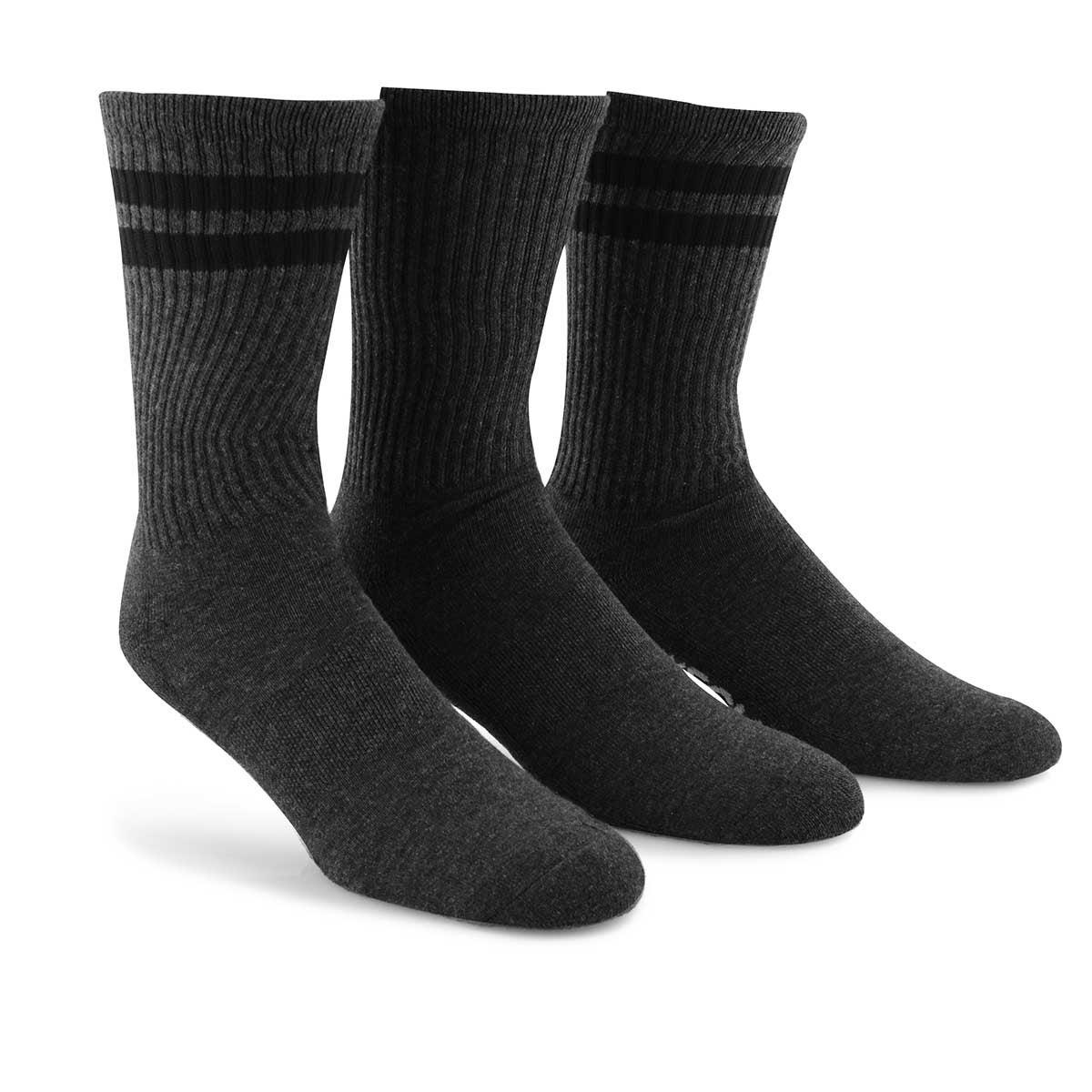 Mns HalfTerryRibbedCrew gry/bk socks 3pk