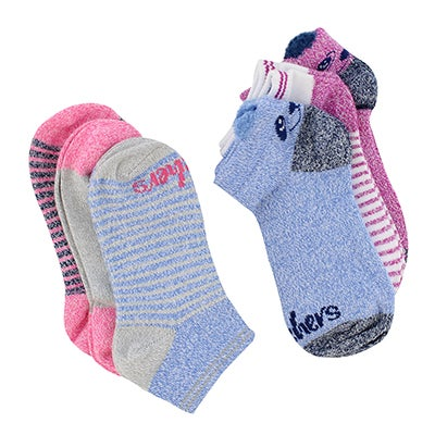 Skechers Girls' NON TERRY multi low cut socks - 6 pk