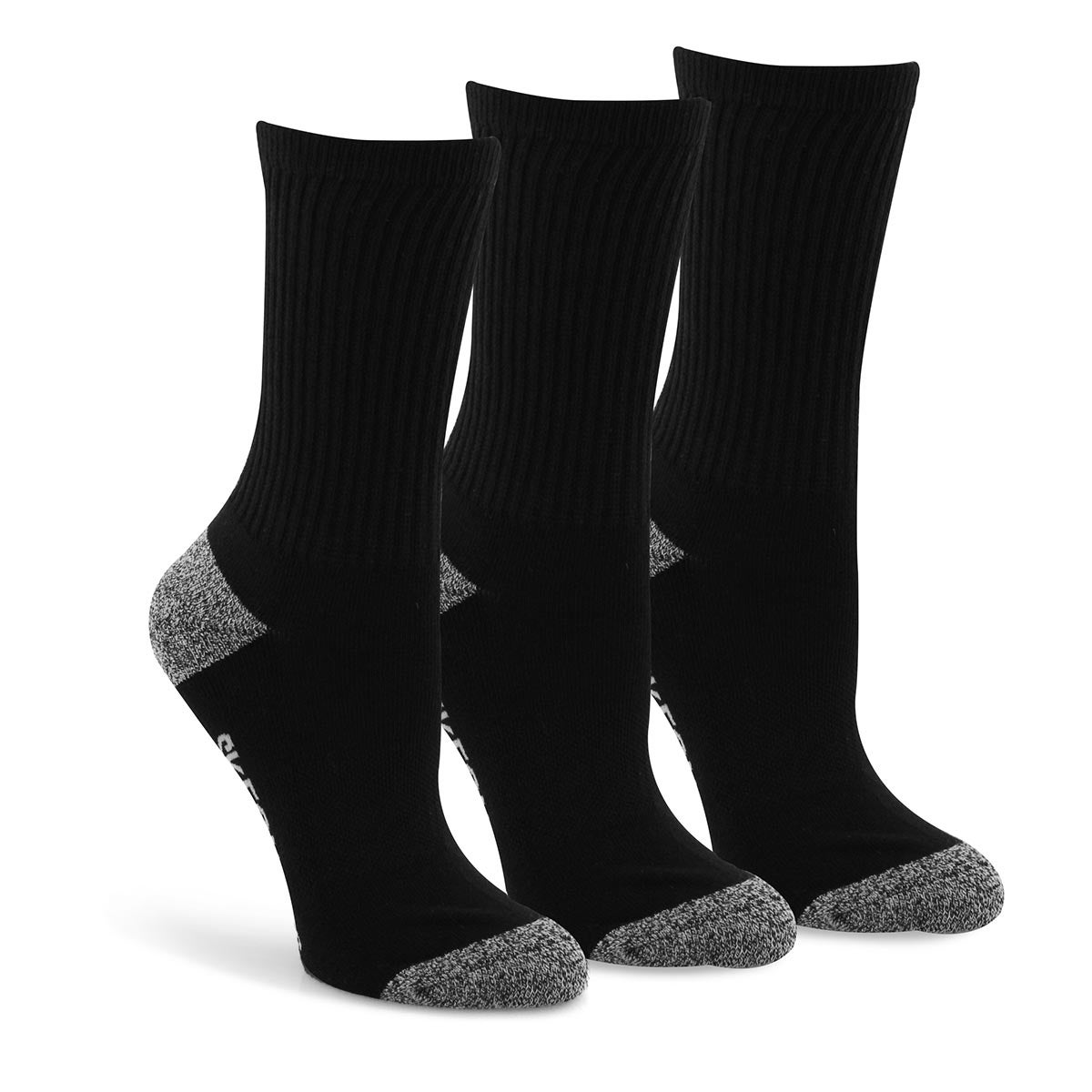 Bys Half Terry Ribbed Crew blk socks 3pk