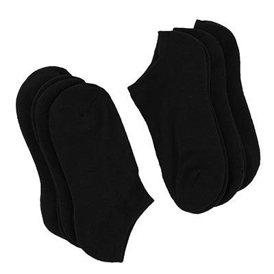 Lds No Show TC Blend blk ankle sock 6pk