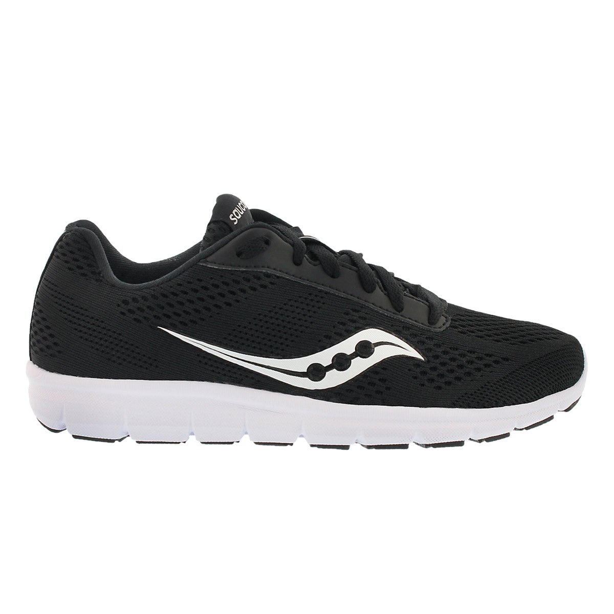 Lds Ideal blk/wht lace up running shoe