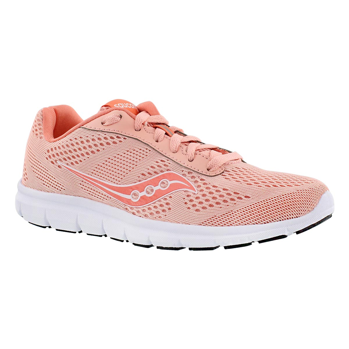 Lds Ideal coral/wht lace up running shoe