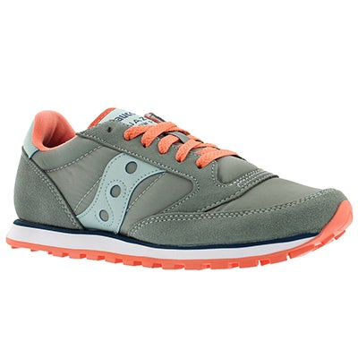 Saucony Women's JAZZ LOW PRO grey lace up sneakers