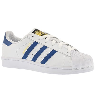 Adidas Boys' SUPERSTAR white/blue lace up sneakers