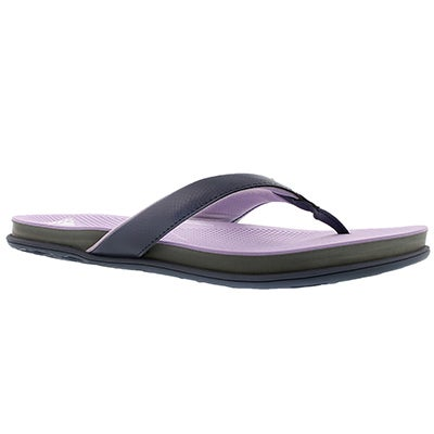 Adidas Women's SUPERCLOUD PLUS black/purple thong sandals