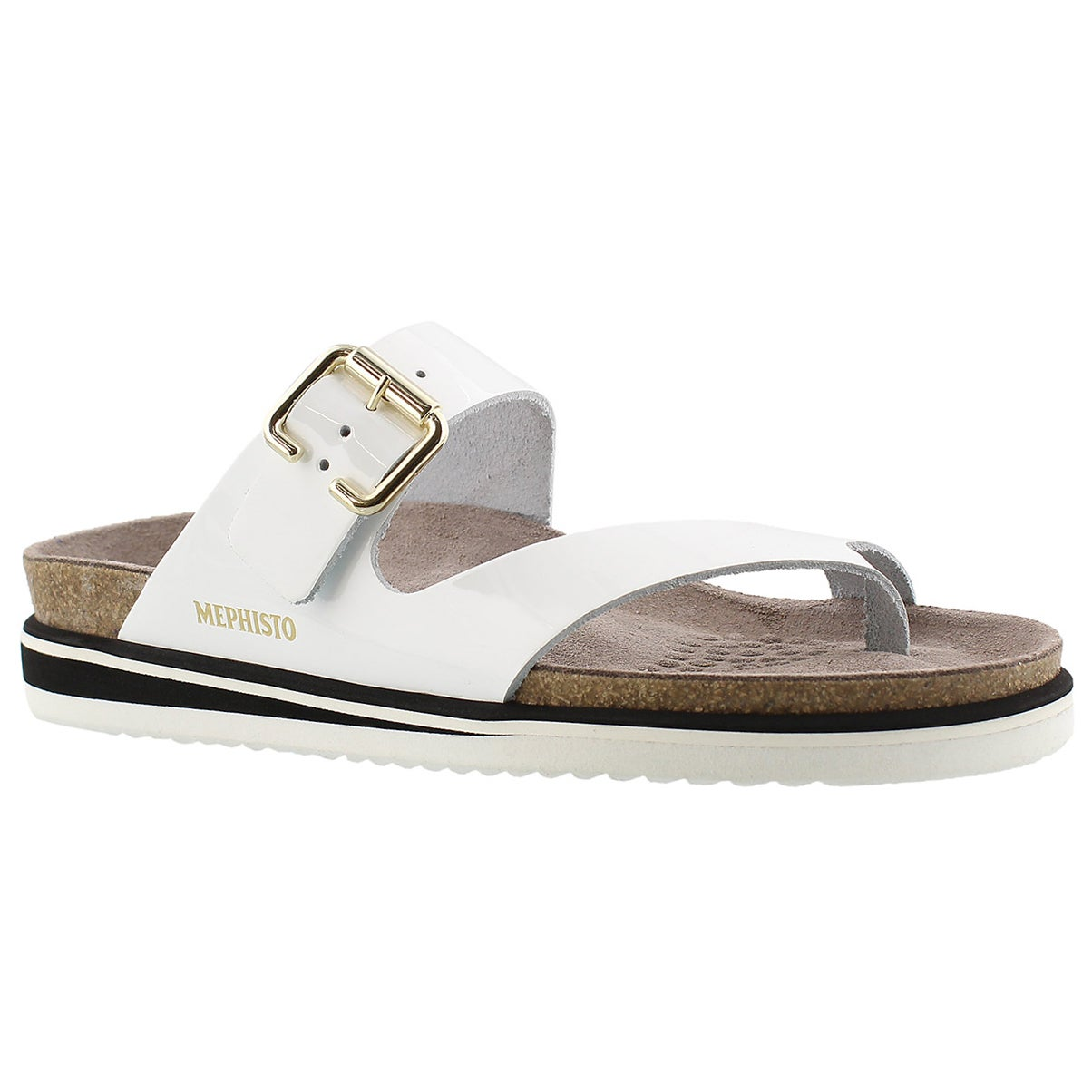 Lds Safo wht pat cork footbed thong