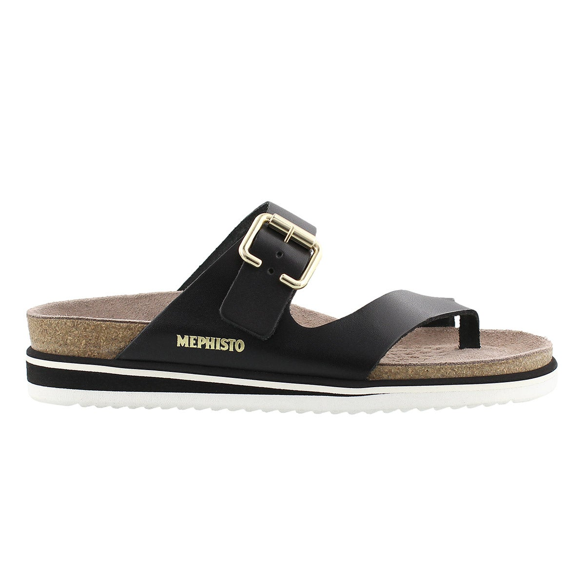 Lds Safo blk waxy cork footbed thong