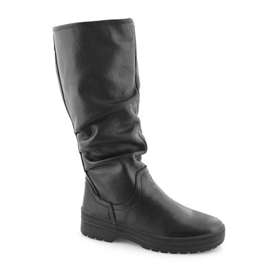 Lds Sage blk lthr wtpf knee high boot
