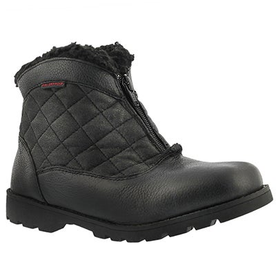 Lds Salena 2 blk wtrpf front zip boot