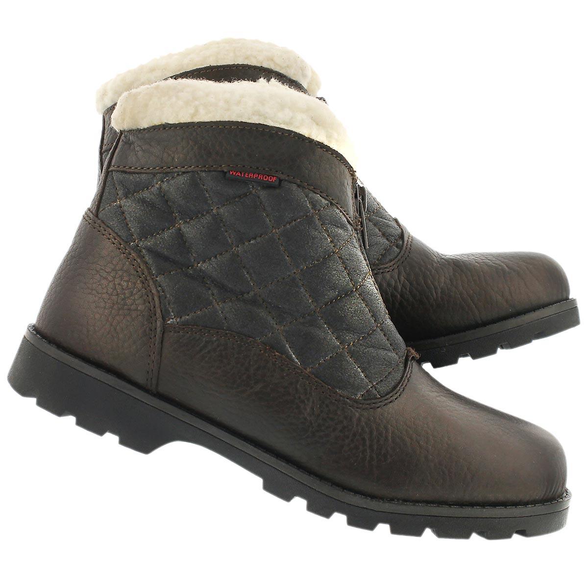 Lds Salena 2 brn wtrpf front zip boot