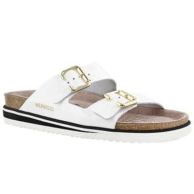 Mephisto Women's SANDIE white patent cork footbed sandals