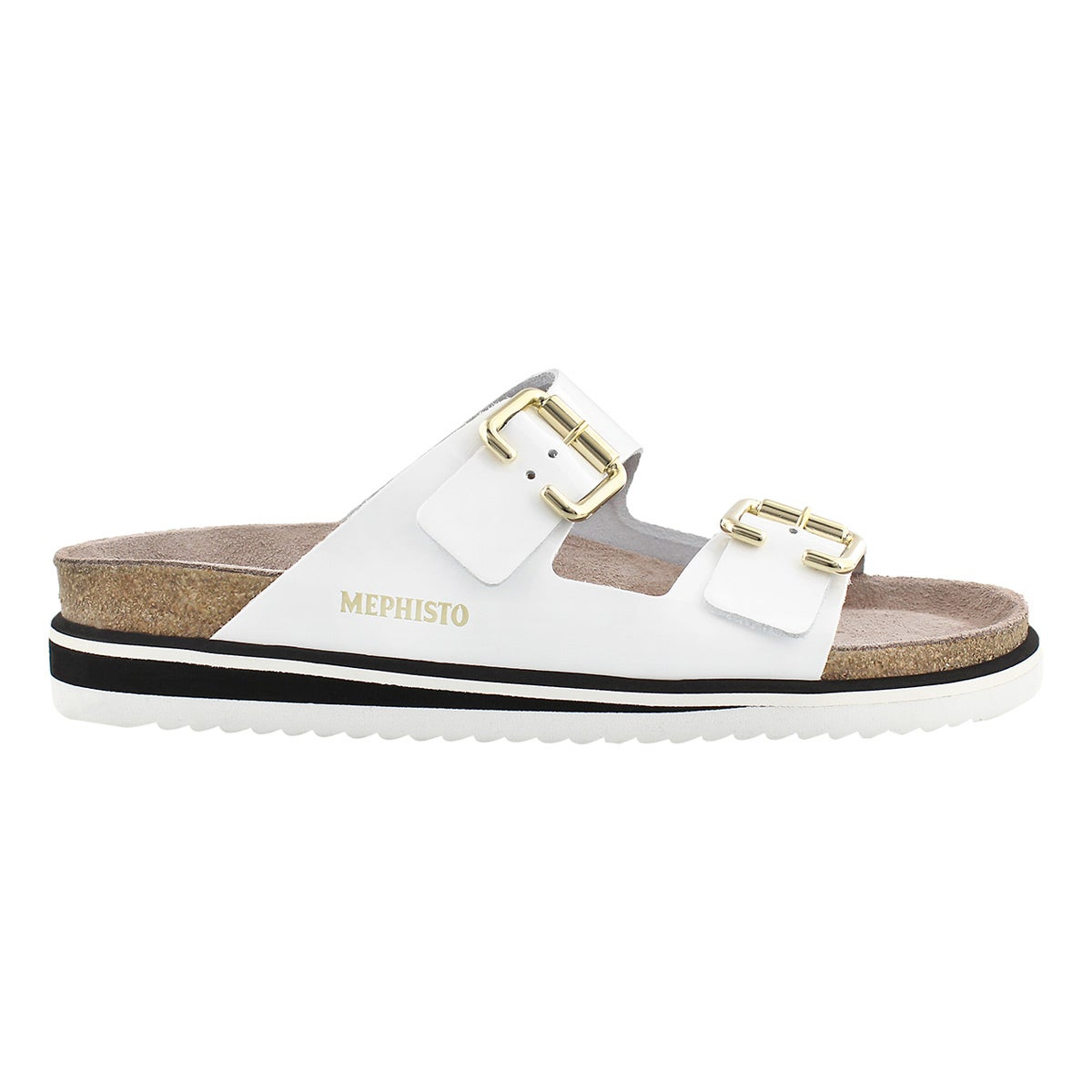 Lds Sandie white pat cork footbed sandal