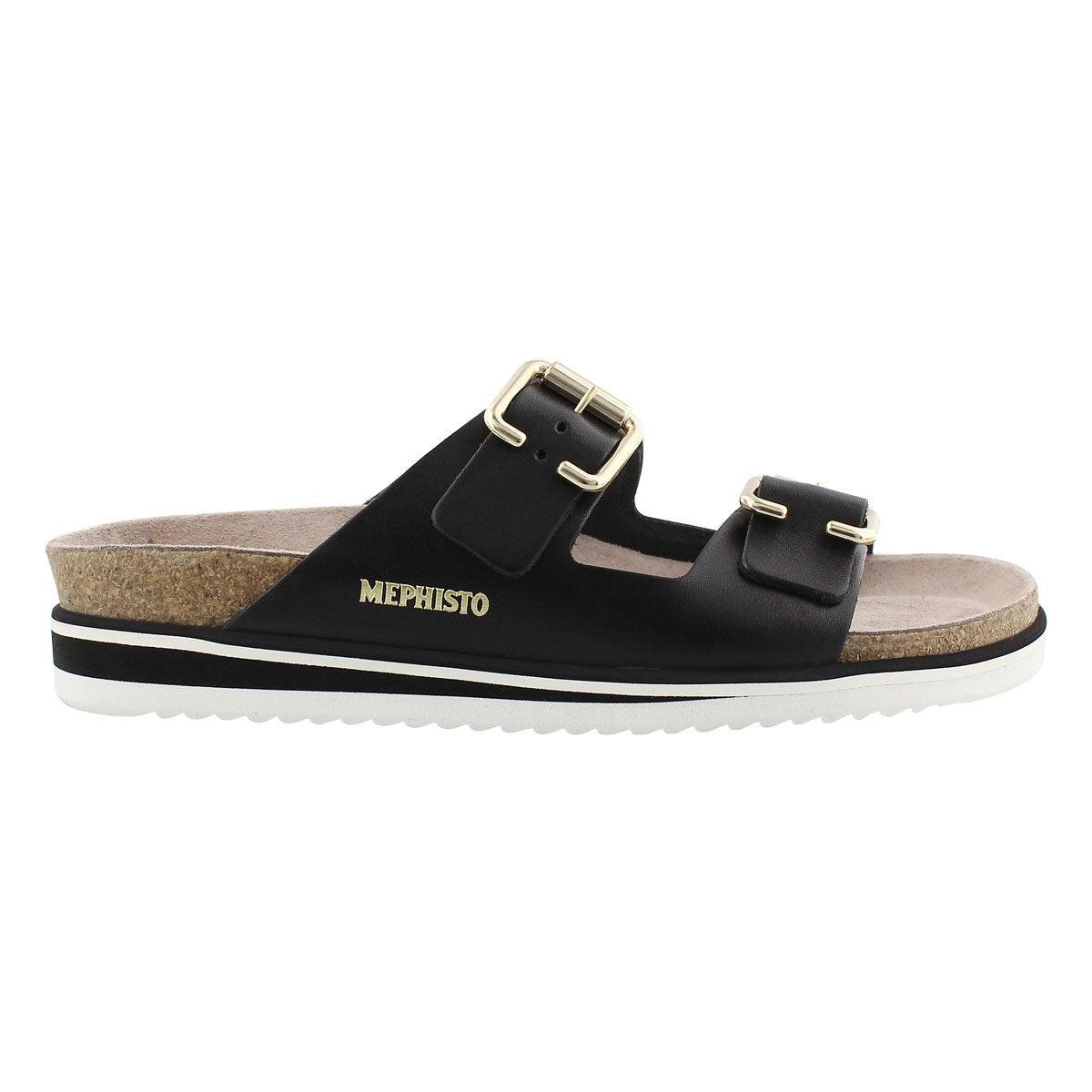 Lds Sandie blk waxy cork footbed sandal