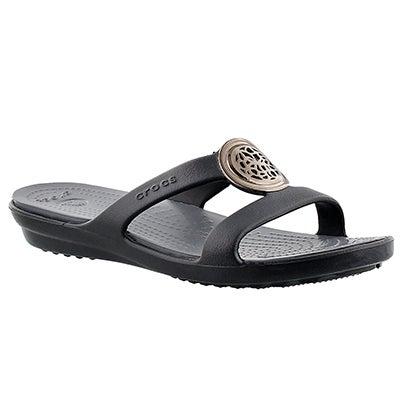 Crocs Women's SANRAH CIRCLE black slide sandal