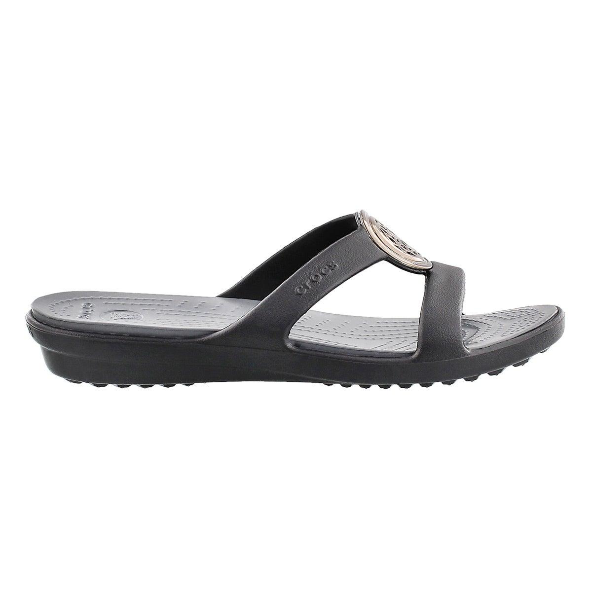 Lds Sanrah Circle black slide sandal