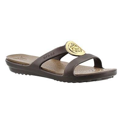 Crocs Women's SANRAH CIRCLE espresso slide sandal