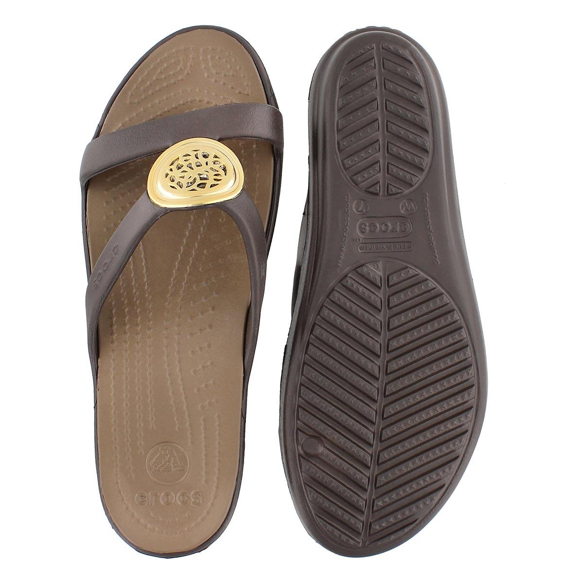 Lds Sanrah Circle espresso slide sandal