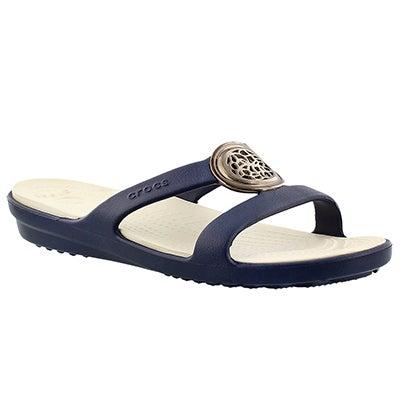Crocs Women's SANRAH CIRCLE navy slide sandal