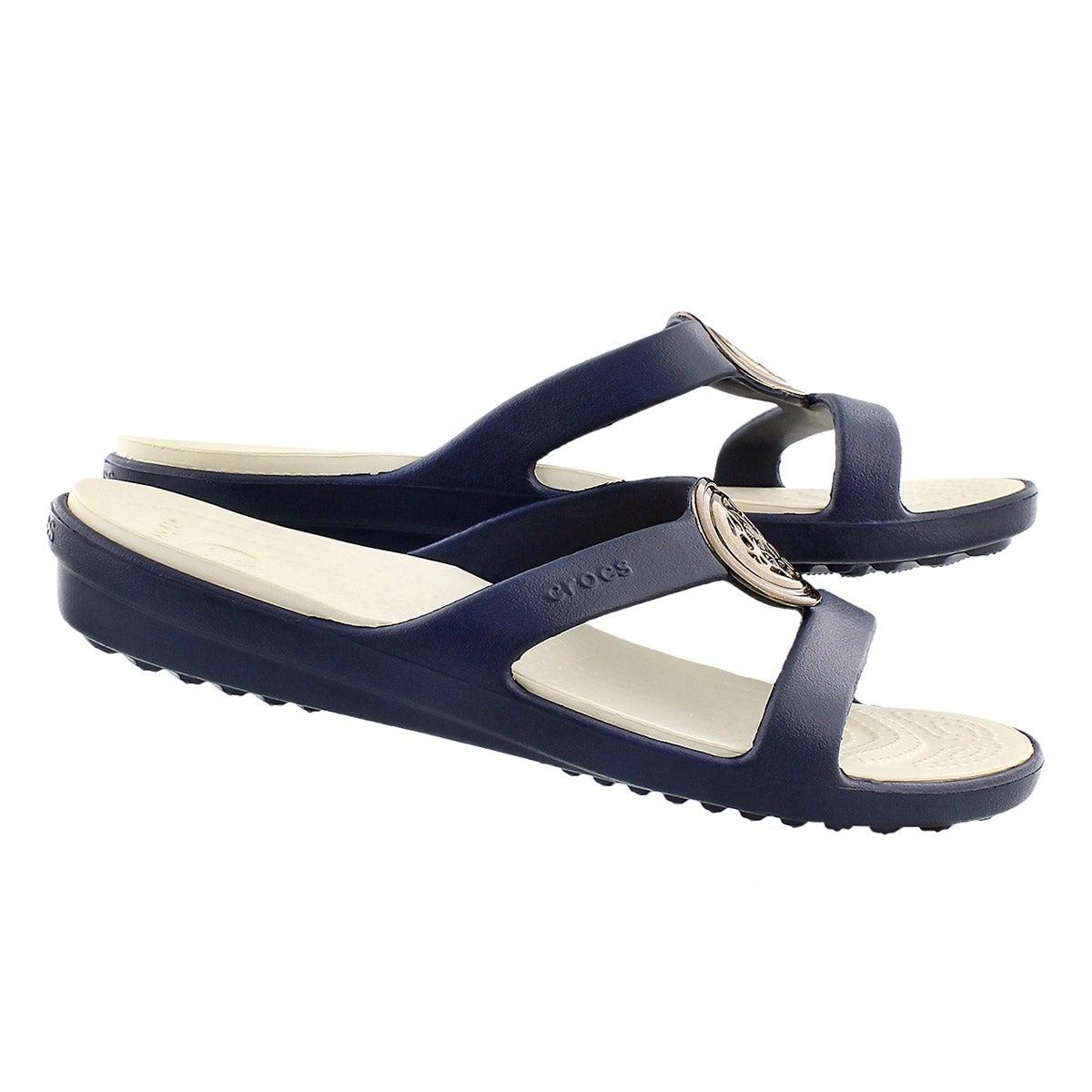 Lds Sanrah Circle navy slide sandal