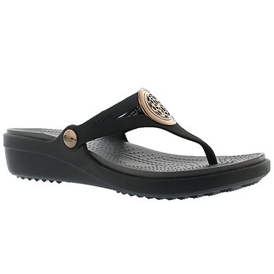 Crocs Sandales tongs SANRAH CIRCLE, noir, femmes