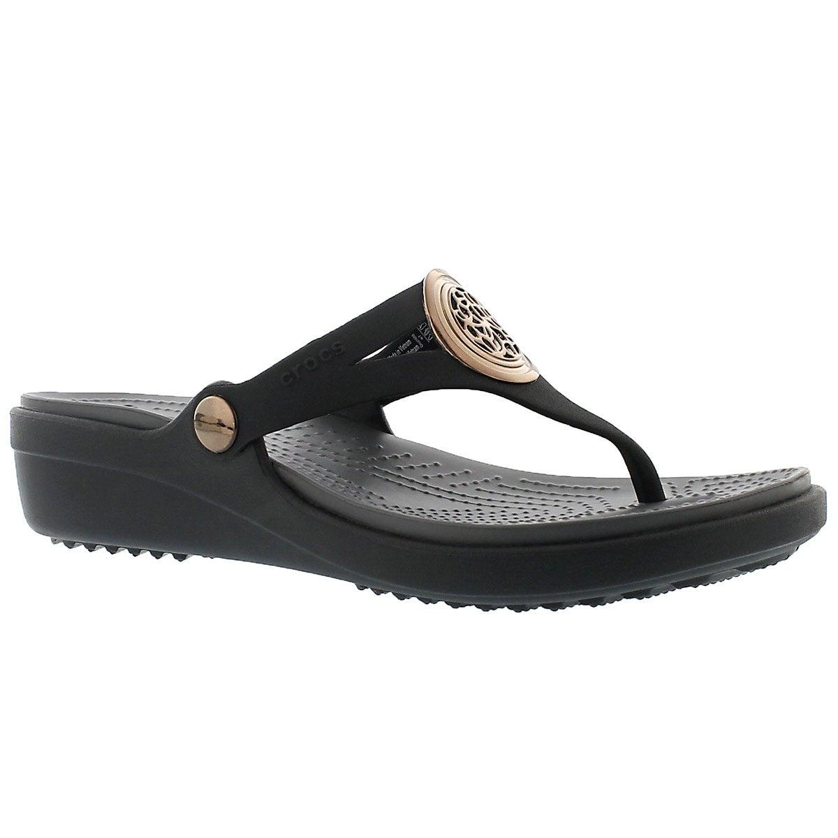 Lds Sanrah Circle blk wedge thong sandal