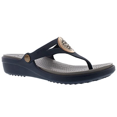 Crocs Sandales tongs SANRAH CIRCLE, marine, femmes