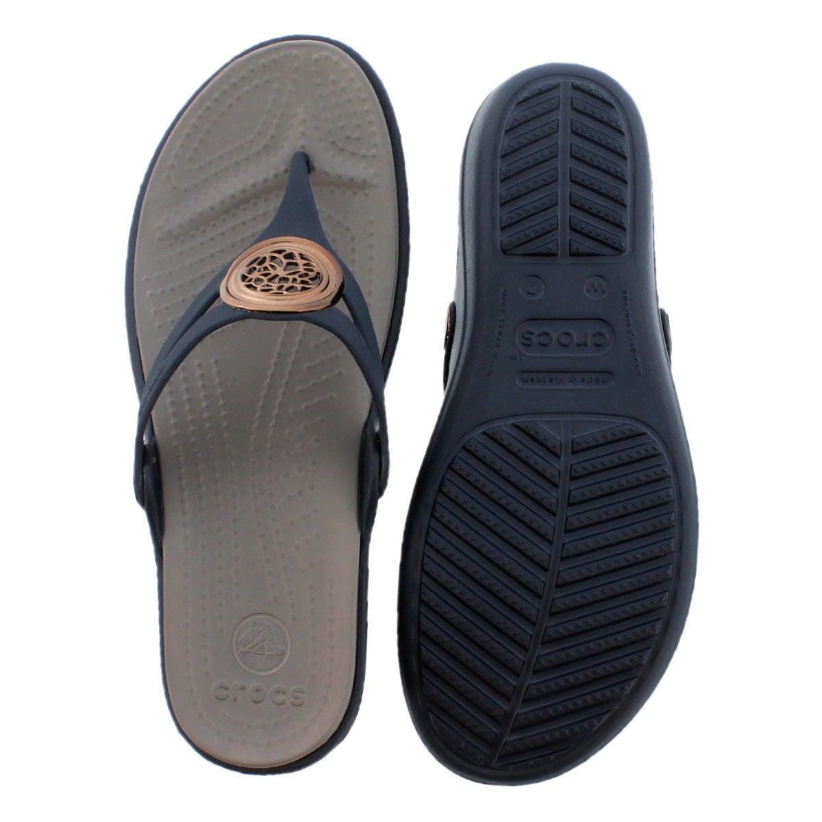 Lds Sanrah Circle nvy wedge thong sandal