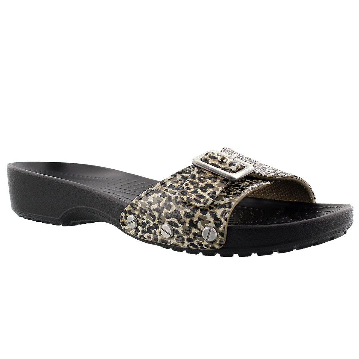 Lds Sarah Leopard blk casual sandal