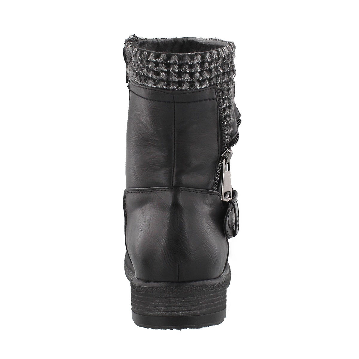 Lds Sasha black side zip combat boot