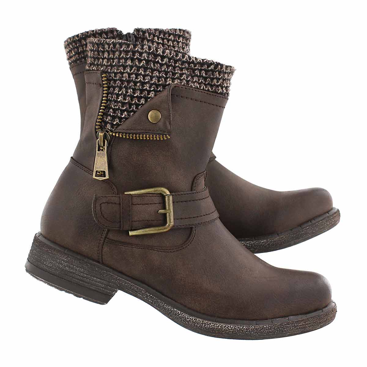 Lds Sasha brown side zip combat boot