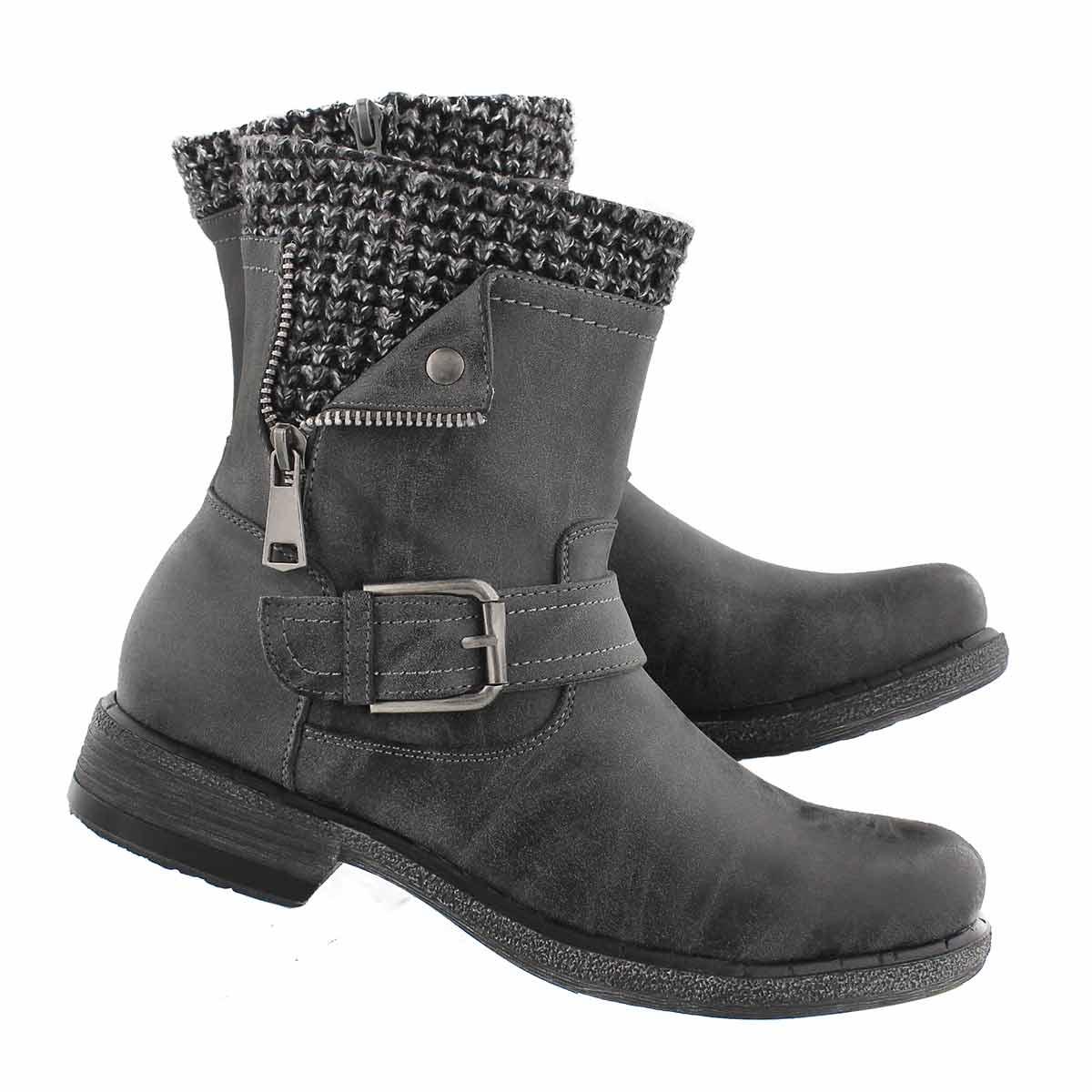 Lds Sasha grey side zip combat boot