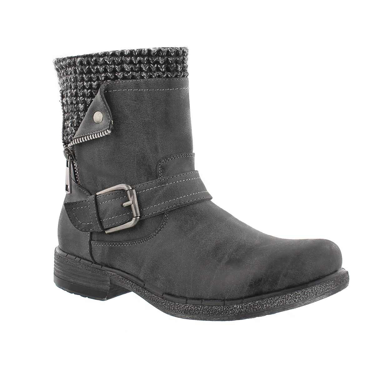 Women's SASHA grey side zip combat boots