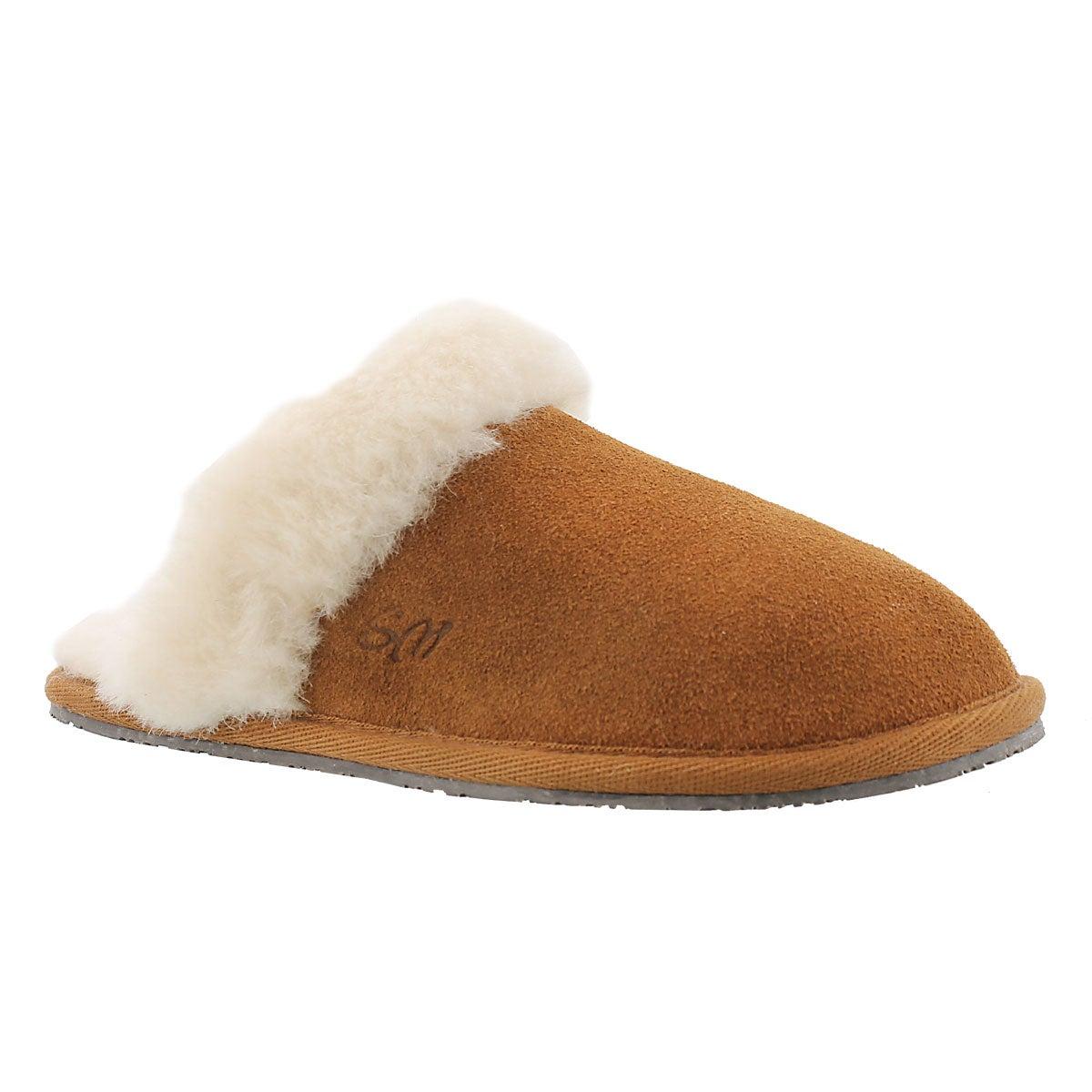 Lds Sassy chestnut mem. foam slipper