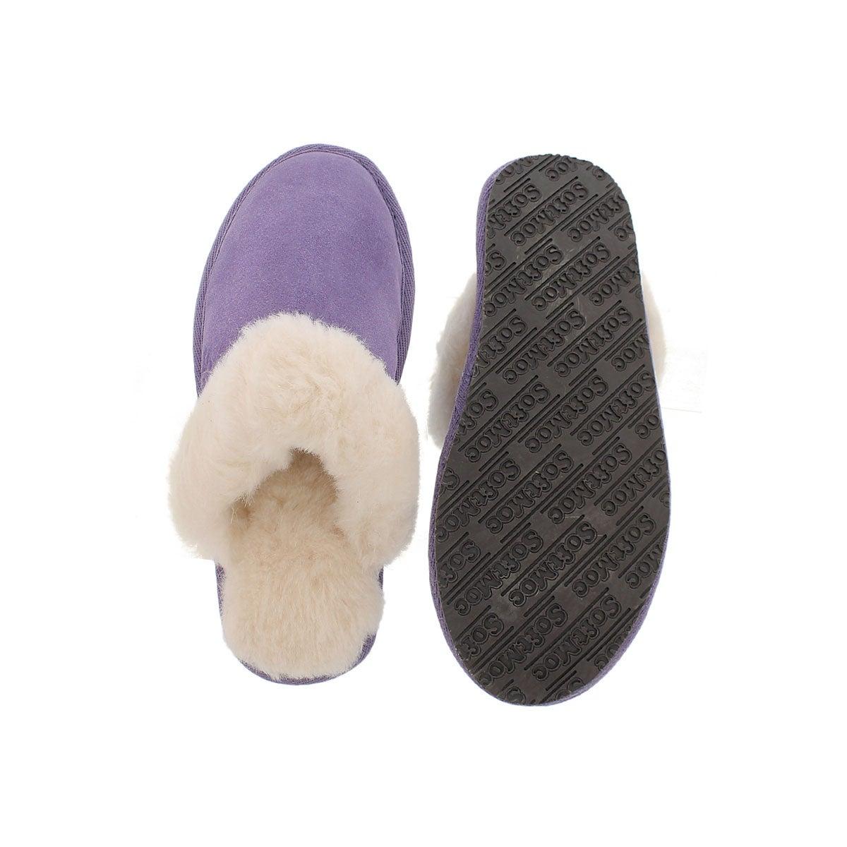 Lds Sassy purple mem. foam slipper