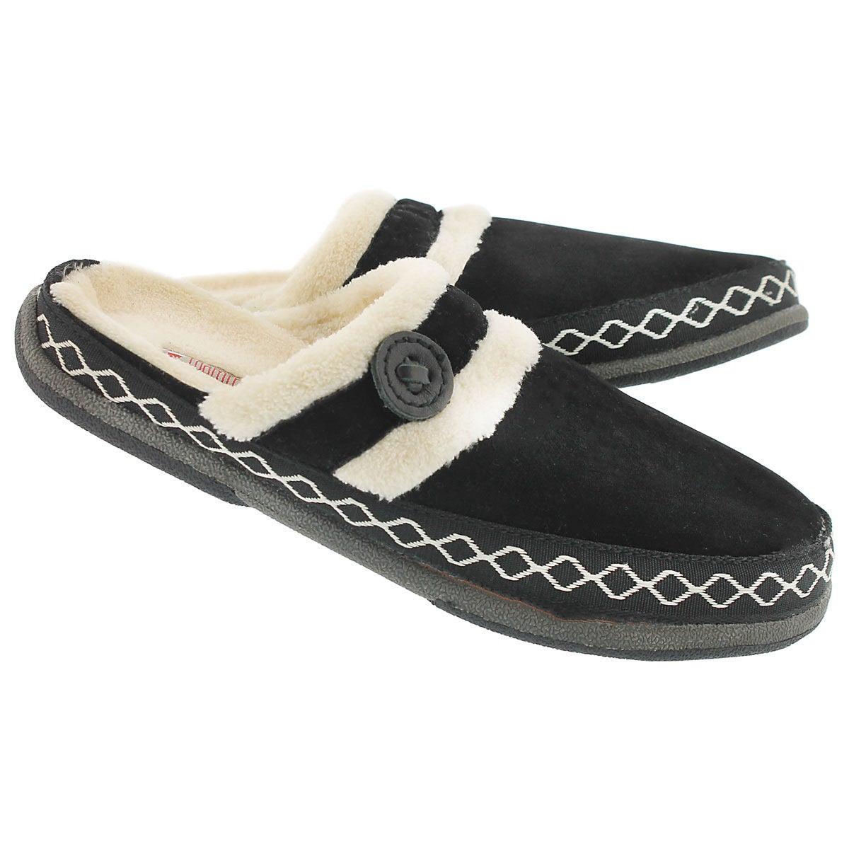 Lds Savoy black micro suede slipper