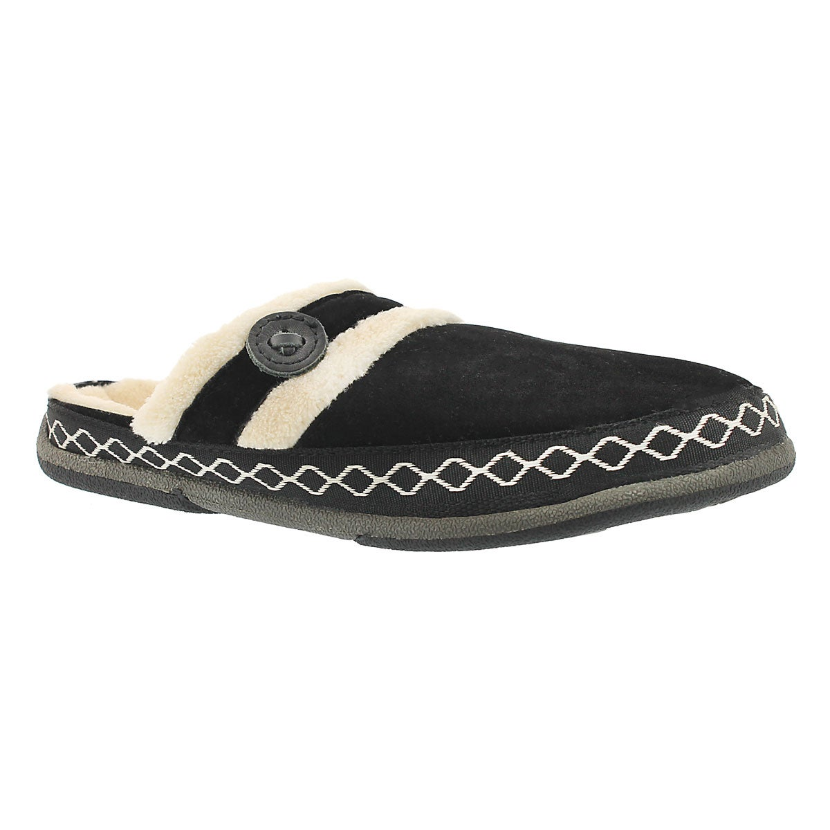 Lds Savoy black micro suede slipper