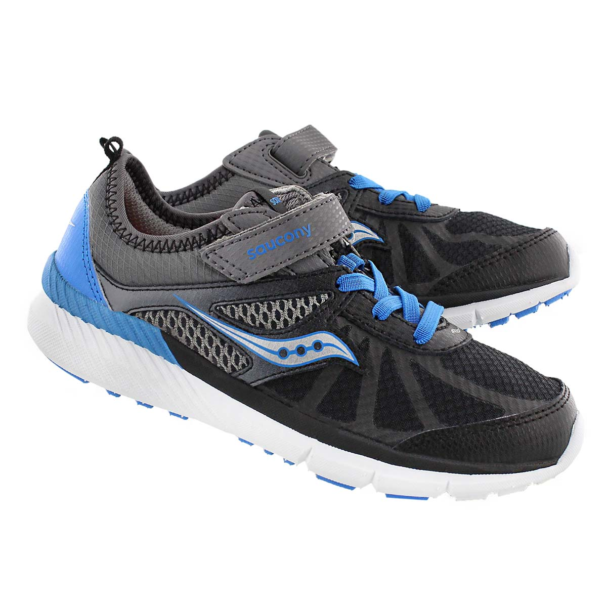 Bys Volt gry/blk/blu running shoe