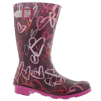 Grls Scribble dk purple wtpf rain boot